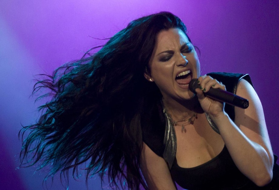 Amy Lee of American rock band Evanescence performs during the Rock in Rio music festival in Rio de Janeiro, Brazil, Sunday Oct.  2, 2011. (AP Photo/Felipe Dana)