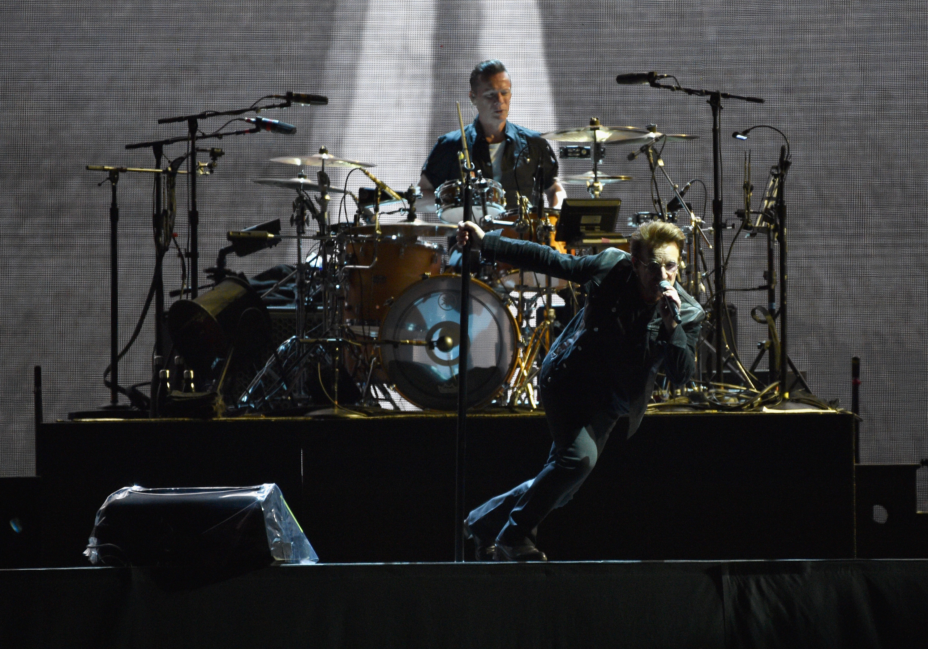 "SEATTLE, WA - MAY 14: Larry Mullen Jr. and Bono perform onstage during U2 ""Joshua Tree Tour 2017"" at CenturyLink Field on May 14, 2017 in Seattle, Washington. (Photo by Kevin Mazur/Getty Images for Live Nation) *** Local Caption *** Larry Mullen Jr.;Bono"
